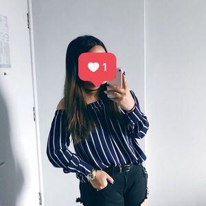 Forever 21 - navy blue striped off the shoulder